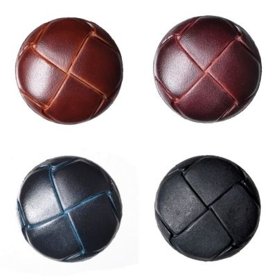Imitation Leather Shank Buttons - Brown - 19mm / 30 Lignes